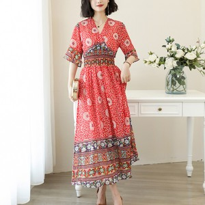 Umbrella Sleeves Bohemian Long Dress - Red