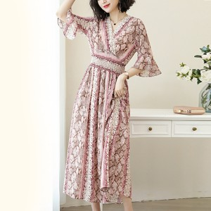 Umbrella Sleeves Bohemian Long Dress - Pink