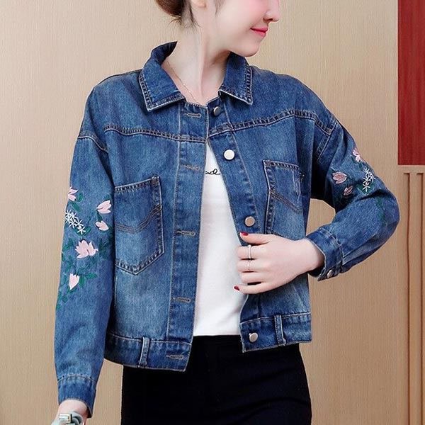 Embroidery Loose Shirt Collar Denim Female Jackets - Blue