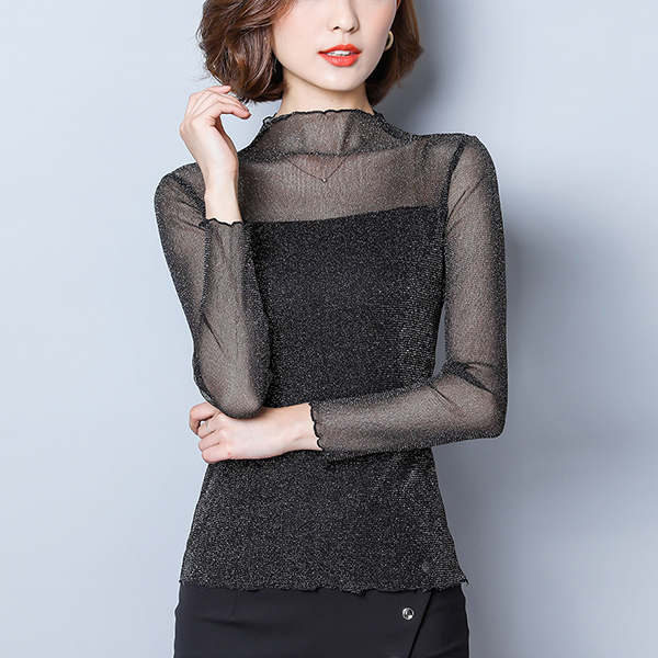 O Neck Full Sleeves Thin Fabric Blouse Top