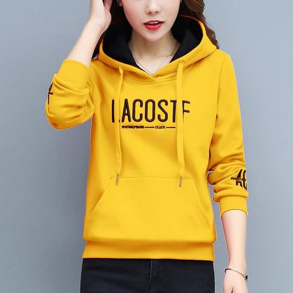 Pullover Loose Thick Letters Punched Girl Hoodies - Yellow