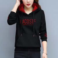 Pullover Loose Thick Letters Punched Girl Hoodies - Black