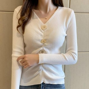 Slim Knitwear Long Sleeve Pullover V-neck Shirt - White