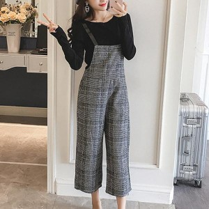 Plaid Sleeveless Casual Loose Females Trendy Dress - Gray