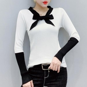 V-neck Long Sleeve One Piece Cotton Women Shirt - White