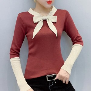 V-neck Long Sleeve One Piece Cotton Women Shirt - Red