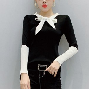 V-neck Long Sleeve One Piece Cotton Women Shirt - Black