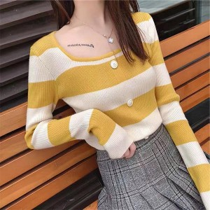 Boat Neck Contrast Long Sleeve Cotton Women Tops - Yellow