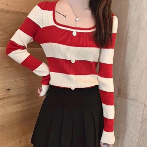 Boat Neck Contrast Long Sleeve Cotton Women Tops - Red