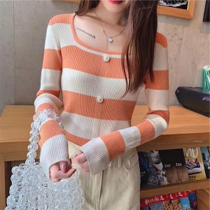 Boat Neck Contrast Long Sleeve Cotton Women Tops - Orange