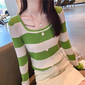 Boat Neck Contrast Long Sleeve Cotton Women Tops - Green