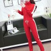 Casual Fitted Zipper Two-piece Long Sleeves Dresses - Red