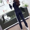 Casual Fitted Zipper Two-piece Long Sleeves Dresses - Black