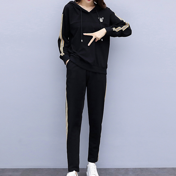 Casual Hooded Two-piece Long Sleeves Dresses - Black