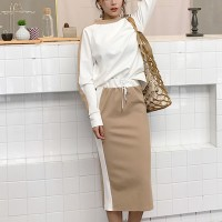 Loose Long Sleeve Mid-length Dress Two-piece Dress - Khaki