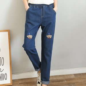 Thread Art Narrow Bottom Elastic Denim Trousers - Dark Blue