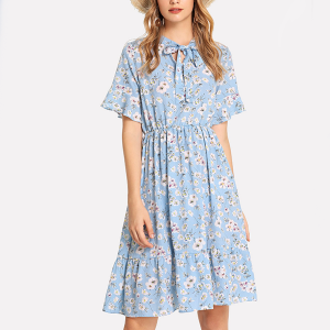 String Round Neck Floral Prints Mini Dress - Blue