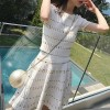 Two Pieces Dotted Pattern Casual Summer Suit - White