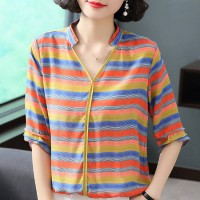 Stand Neck Stripes Printed Summer Loose T-Shirt - Yellow