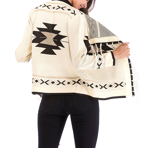 Geometric Pattern Long Sleeves Cardigans Sweaters - White