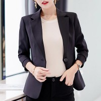 Long Sleeves Outerwear Ladies Blazer Dress Coat - Black