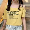 Slash Shoulder Neck Text Prints Loose T-Shirt - Yellow
