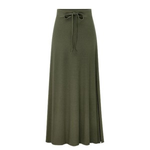 Lace Up Long Length Loose Flared Women Skirts - Army Green