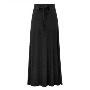 Lace Up Long Length Loose Flared Women Skirts - Black
