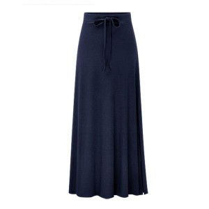 Lace Up Long Length Loose Flared Women Skirts - Dark Blue