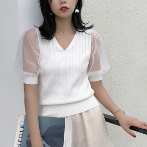 Transparent Net Sleeves V Neck Shirt - White