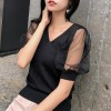 Transparent Net Sleeves V Neck Shirt - Black