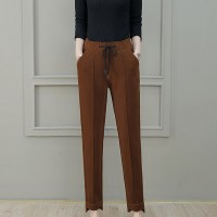 Woolen High-waist Loose Office Wear Women Pants - Brown