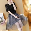 Pleated Skirt Two Pieces Mesh Formal Dress - Black