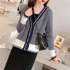 Checks Pattern Loose Knitted Net Ladies Sweaters - Blue