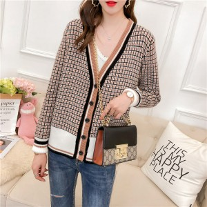 Checks Pattern Loose Knitted Net Ladies Sweaters - Coffee