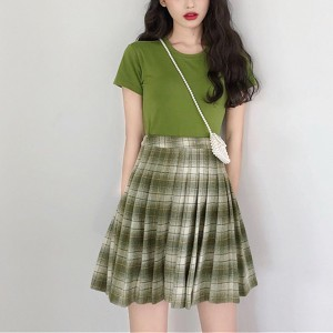Two Pieces Printed Checks Skirt Mini Suit - Green