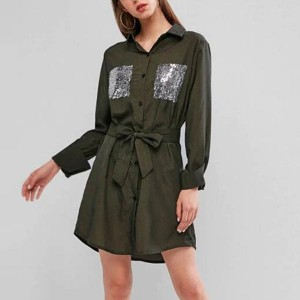 Long Sleeve Sequined Waistband Loose Dresses - Green