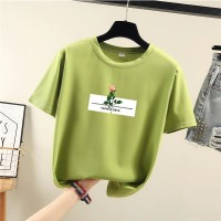 Rose Prints Floral Round Neck Summer Women Fashion T-Shirt - Green