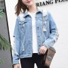 Ripped Fitted Shirt Collar Denim Female Jackets - Light Blue