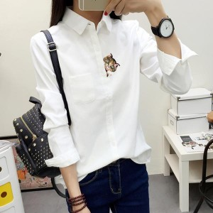 Cat Embroidered Long Sleeve Formal Ladies Shirts - White