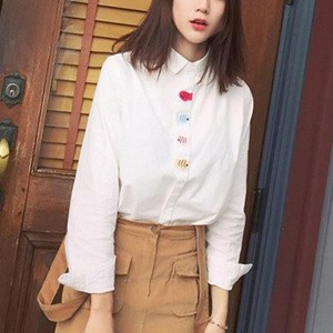 Polo Collar Fish Embroidered Ladies Shirts - White