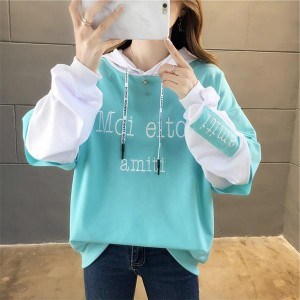 Letter Printed Pullover Long-sleeved Women Hoodies - Blue