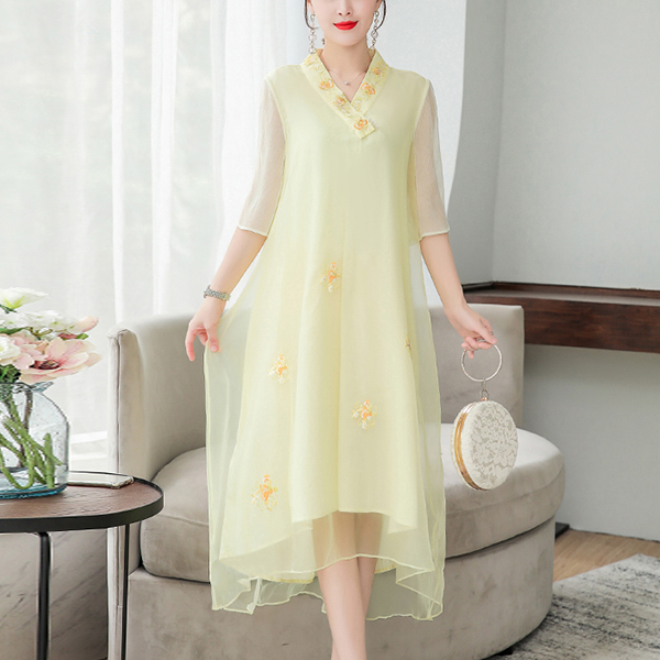 V Neck Floral Embroidery Midi Dress - Yellow