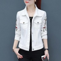 Button Closure Embroidered Slim Female Jackets - White