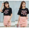 Printed T-Shirt With Mini Skirt Two Pieces Suit - Black