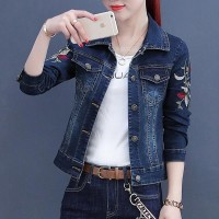 Embroidered Jeans Long Sleeve Denim Jackets - Dark Blue