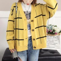 Long Sleeves Stripes Pattern Button Closer Cardigans - Yellow