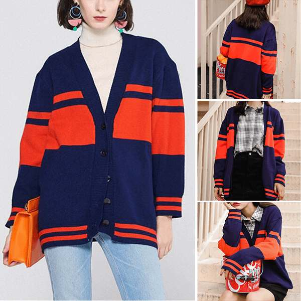 Button Closer Dual Color Decorative Cardigans Sweaters