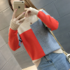 Dual Contrast Ribbed Full Sleeves T-Shirt - Red