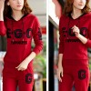 Two Piece Printed Casual Sports Dress - Red